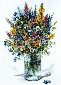 The Thistle Bouquet - cross stitch kit by Merejka - A colourful collection of wild flowers in a glass jar. Cross Stitch Letters, Cross Stitch Books, Cross Stitch Bookmarks, Beaded Cross Stitch, Cross Stitch Borders, Cross Stitch Animals, Cross Stitch Flowers, Counted Cross Stitch Patterns, Cross Stitch Designs