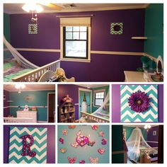 Fairy Tale Purple and Fiji Teal bedroom make-over for our daughter. Still needs window treatments.  DIY wall art and curtain tie backs.