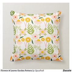 Flowers & Leaves Garden Pattern Throw Pillow Pillow Fight, Floral Pillows, Organizing Your Home, Diy Face Mask, Custom Pillows, Gifts For Dad, Your Design, Art Pieces, Throw Pillows