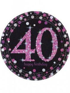 40th Birthday Pink Celebration Plates 8pk