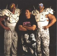 Zubaz founders the Road Warriors, Hawk and Animal with Dan Marino Wrestling Stars, Wrestling Wwe, Wwe Raw And Smackdown, Body Builder, The Road Warriors, Wwe Pictures, Wrestling Superstars, Wwe Tna, Wwe Wallpapers
