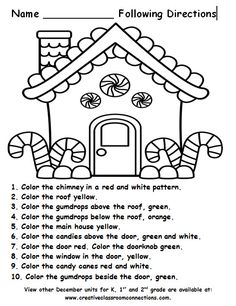 Free Gingerbread House for a following directions activity. More December units…