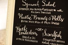 Chalkboard menu goes perfectly with our All Things Kitchen wedding shower party Types Of Lettering, Brush Lettering, Lettering Design, Chalkboard Wedding, Chalkboard Art, Fat Orange Cat, Illustrated Words, Beautiful Handwriting, Typography Love
