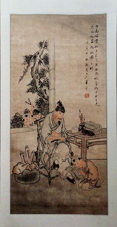 """Acuarela tradicional china """"Reprendiendo al niño"""" (鞭子图 bian zi tu).  Montada sobre rollo de seda enrollado en madera a modo de papiro, listo para ser colgado a la manera tradicional china.    Las Shuimo Hua o acuarelas tradicionales chinas son conocidas en China como la """"pintura nacional"""", es el tipo de pintura más importante del país."""