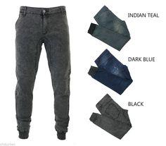 Kayden K men's washed denim jogger pants ribbing band Black DK.Blue Teal #kaydenK #jogger