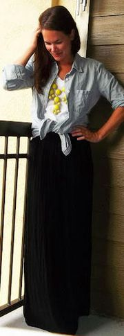 Maxi skirt + Denim shirt + Bold necklace
