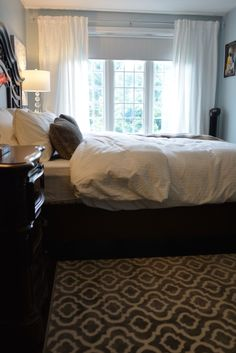 Transitional bedroom project by Dominika Pate Interiors Master Bedroom, Bedroom Decor, Transitional Bedroom, Interior Design Services, Dark Wood, Window Treatments, Upholstery, Interior Decorating, Interiors
