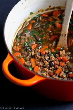 Hearty Mushroom, Farro and Ginger Soup..