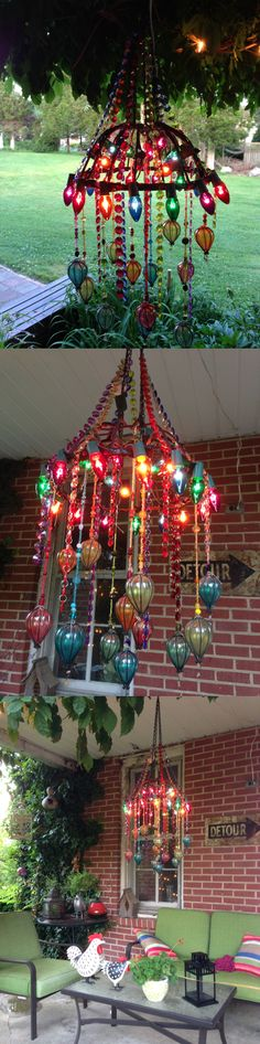 Upcycled outdoor porch chandelier - gaudy? Definitely! But between old Christmas lights, an empty hanging basked, broken outdoor lights and a bunch of beads? Total fun!