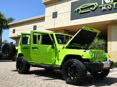 2012 Jeep Wrangler Unlimited Sahara for sale in Naples, FL Green Jeep Wrangler, 2012 Jeep Wrangler, Wrangler Unlimited Sahara, Lime Green Jeep, Fast N Loud, Cool Jeeps, Jeep Jeep, Mopar Or No Car, Car Detailing