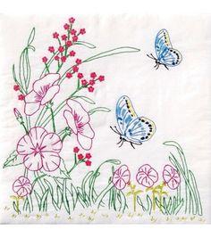 Jack Dempsey Stamped White Quilt Blocks Flowers & Butterflies