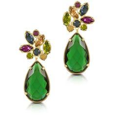 Forzieri Earrings Crystal Drop Earrings (24.105 RUB) ❤ liked on Polyvore featuring jewelry, earrings, accessories, green, crystal jewellery, green earrings, crystal drop earrings, earring jewelry and crystal earrings
