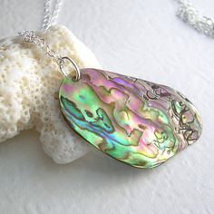 Pink Abalone Pendant Natural Paua Shell Jewelry by cindylouwho2, $24.00