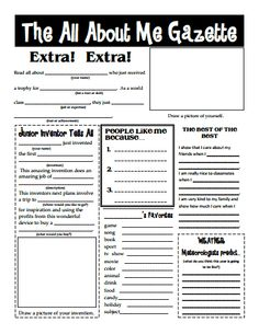The All About Me Gazette for the first day of school. Use this in grade. then at the end of the year the art teacher has them create a TIME magazine self portrait. Combine the two for a great foyer display to celebrate moving on to grade! 1st Day Of School, Beginning Of The School Year, School Fun, School Days, Middle School, School Stuff, First Day Activities, Back To School Activities, Classroom Activities
