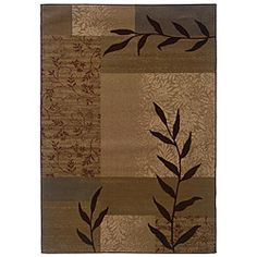 A striking geometric pattern highlights this machine-woven rug. This gold area rug features a durable construction in additional colors of beige, green and brown.