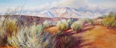 Winter in the Desert , Painting of Pine Valley Mountain from the Red Cliffs of St.. George - Watercolor Paintings by Roland Lee