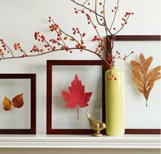 10 DIY fall decor ideas using a leaf motif. These DIY fall decor ideas include garland, wreaths, lanterns using real leaves or cut outs Upcycled Crafts, Diy Crafts, Decor Crafts, Home Decor, Framed Leaves, Pressed Leaves, Pressed Glass, Plant Projects, Diy Projects