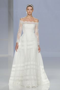 Rosa Clará Off The Shoulder Lace and Tulle Wedding Dress Spring 2018 | http://www.brides.com/photos/rosa-clara-wedding-dresses-spring-2018-28