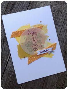 Birthday card using Stampin Up stamp set: bring on the cake, work of art, something to say