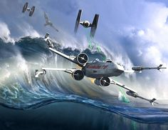 Star Wars art by Kurt Miller / Battle on the ocean planet of Kamino. Kamino is a fictional ocean planet, in the fictional Star Wars universe. It was here that the Army of the Republic was generated