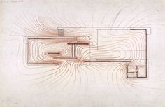 "Paul Rudolph Drawing: ""Graphic Analysis of the Barcelona Pavilion by Mies van der Rohe""."
