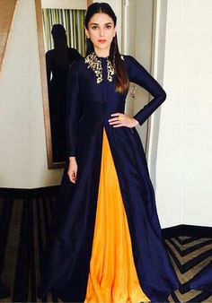 Buy Navy Blue - Yellow Banglori Silk Gown Lehenga - Online Women Ethnic wear At ethnicfactory. Muslim Evening Dresses, Indian Gowns Dresses, Indian Fashion Dresses, Dress Indian Style, Indian Designer Outfits, Pakistani Dresses, Indian Outfits, Black Indian Gown, Lehenga Designs