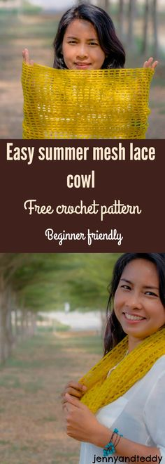 Make this easy summer mesh cowl free crochet pattern beginner friendly only 2 basic crochet need very detail photo tutorial to help along by jennyandteddy