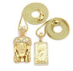 """Hip Hop JESUS Chain Necklace Suisse Gold Bar Pendant Chain  Color:  14k Gold GP (50mills 14k Gold GP)  Size:  Jesus Piece 1.15"""" x 1.50"""" - Suisse 1"""" x 2.25""""  Features: Hand Set Diamond Cz Stones"""