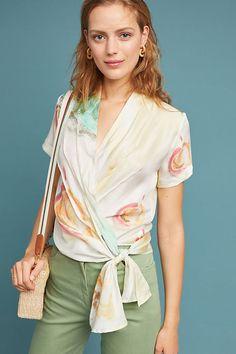 Slide View: 1: Watercolor Silk Wrap Blouse