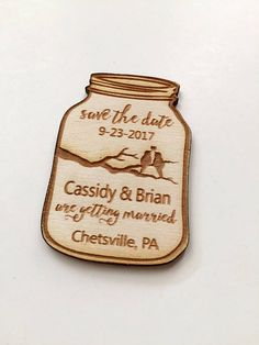 Mason Jar Save the Date Magnets for your wedding. Announce you upcoming special day with these charming rustic Magnets. Great keepsakes for your guests. They are approx 2.7 by 1.85. Magnets are 1/8 thick. Want the magnet to read differently, or want a different design? Contact me and I