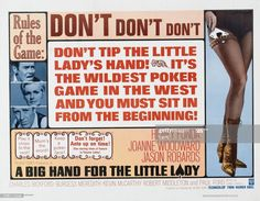 """Delightful western set """"Sting"""" poker game. Aided by a superb cast headed by Joanne Woodward, Henry Fonda, Jason Robards, and the wonderful Paul Ford.It's a tricky, feisty delight that will have you guessing all along the way. A lot of fun, Joanne Woodward, Henry Fonda, Poker Games, Original Movie Posters, Western Movies, Vintage Movies, It Cast, Hands, Big"""