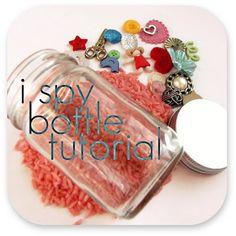 How to make an I Spy sensory bottle - rice + buttons + small bottle/jar - great preschooler activity!