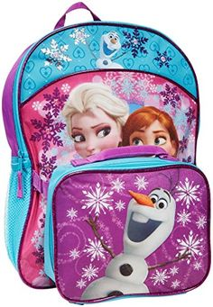 Disney Little Girls Frozen Elsa Ana Backpack With Lunch Kit PurpleBlue 16 X 12 X 5  9 X 75 X 35 -- Click image to review more details.