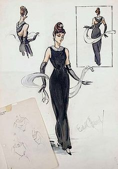 Edith Head's gown sketch for Audrey Hepburn in Breakfast at Tiffany's (1961)