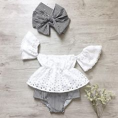 Details about USA Baby Girl Off Shoulder Tops Stripe Shorts Briefs Outfits Clothes Summer - Baby Clothes Newborn Cute Baby Girl Outfits, Baby Outfits Newborn, Cute Baby Clothes, Baby Girl Newborn, Kids Outfits, Baby Girl Clothes Summer, Babies Clothes, Baby Girl Headbands, Summer Baby