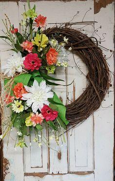 Front Door Wreath, summer wreath, spring wreath, Outdoor wreath, tulip wreath, wedding wreath, farmhouse wedding, Grapevine wreath, home dec by FarmHouseFloraLs on Etsy