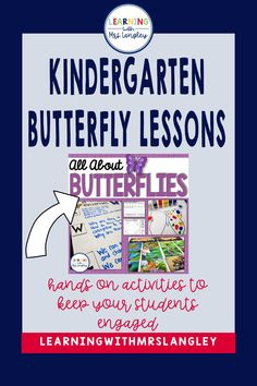 Distance Learning Butterfly Lesson Plans and Activities for Kindergarten Kindergarten Classroom, Kindergarten Activities, Classroom Ideas, Preschool, Writing Station, Butterfly Life Cycle, Vocabulary Cards, Hands On Activities, Science Lessons