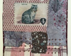 Cat. Unframed Hand Embroidered Textile Collage by MandyPattullo