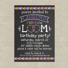 Rainbow Loom Birthday Party Invitation PDF File by 5foot12studio, $12.00