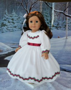 American Girl Mid 1800's Christmas Gown/ Clothes by Farmcookies