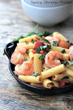 The Ultimate go to Pasta Dish, Spicy Shrimp Pasta. | www.joyfulhealthyeats.com #30minutemeal #seafood