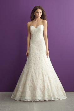Strapless, sweetheart, lace a-line wedding dress - Style 2952 from @allurebridals