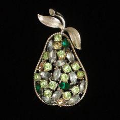 Pear Pin Vintage Rhinestone Fruit Brooch Coro