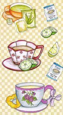 Moda ve Hobi Perisi: Dekupaj Desenleri Tee Kunst, Arte Country, Tea Art, Food Drawing, Coffee Art, Food Illustrations, Christmas Printables, Food Coloring, Tea Time