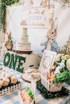 Boys First Birthday Party Ideas, Baby Boy 1st Birthday, Birthday Bash, Peter Rabbit Birthday, Peter Rabbit Party, Baby Shower Parties, Baby Boy Shower, Dessert Table Birthday, Birthday Traditions