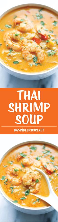 Shrimp Soup Easy Thai Shrimp Soup - Skip the take-out and try making this at home - it's unbelievably easy and tastier and healthier!Easy Thai Shrimp Soup - Skip the take-out and try making this at home - it's unbelievably easy and tastier and healthier! Think Food, I Love Food, Good Food, Yummy Food, Seafood Recipes, Soup Recipes, Cooking Recipes, Recipies, Thai Cooking