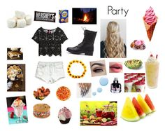 """""""Party"""" by kkristenlove on Polyvore featuring H&M, Yves Saint Laurent, Topshop, Lime Crime and Hershey's"""