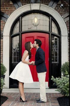 Cute doorstep kiss!