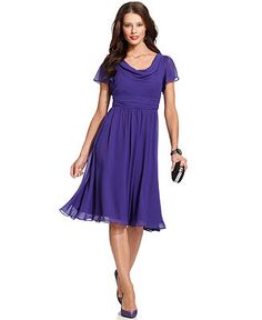SL Fashions Short-Sleeve Cowl-Neck Dress - Dresses - Women - Macy's It's a bit darker than what matches lilac, but I like the style. Cowl Neck Wedding Dress, Cowl Neck Dress, Draped Dress, Chiffon Dress, Dresser, Mom Dress, Review Dresses, Petite Dresses, Pretty Outfits