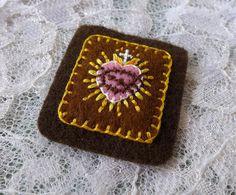 Simple Sacred Hearts Brown Pink  Hand by StellaMarigoldArt on Etsy